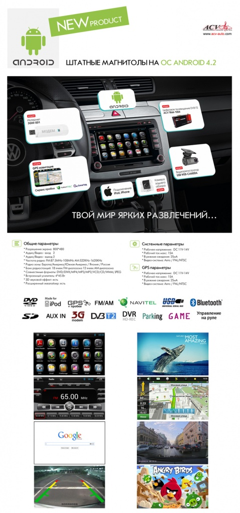 "ACV ШГУ Toyota Land Cruiser 2008-2010 8"" AD-8041 Android 4.2"